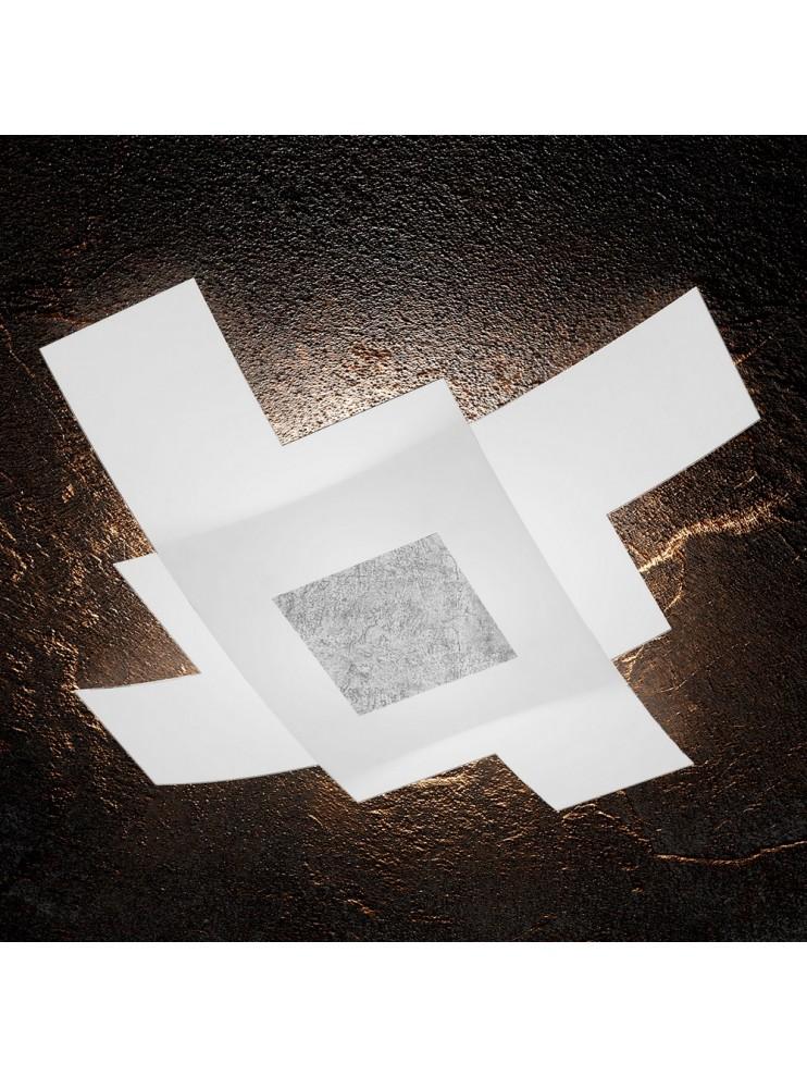 Plafoniera moderna foglia argento 4 luci tpl 1121/95-fa