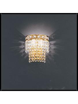 Applique in cristallo classico a 2 luci oro con pendenti Voltolina Amsterdam