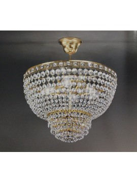 Chandelier in classic 3 lights gold crystal Voltolina Amsterdam