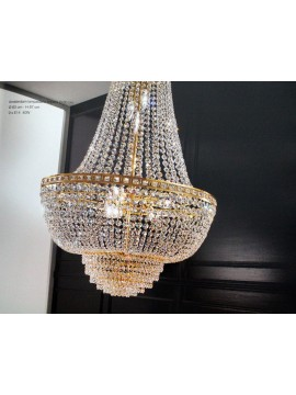 Classic crystal chandelier 9 lights gold Voltolina Amsterdam Empire