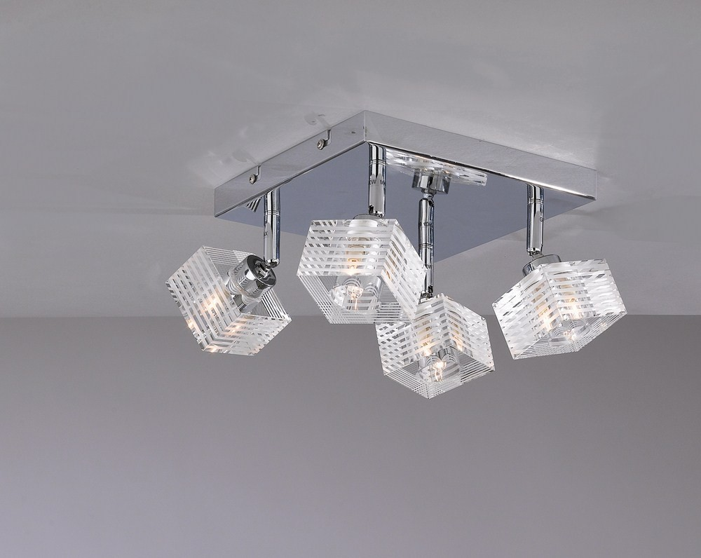 Plafoniere Moderne Vetro : Plafoniera moderna vetro cubo 4 luci tpl 1047 pl4