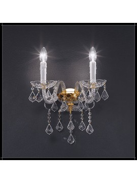 Classic crystal sconce 2 lights gold Voltolina Dream
