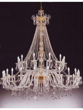 Lampadario in cristallo classico 24+12 luci oro Voltolina Dream