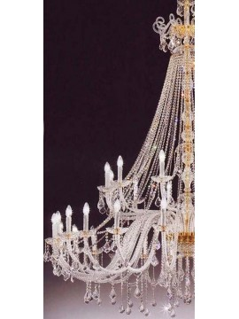 Chandelier in classic crystal 24 + 12 gold lights Voltolina Dream