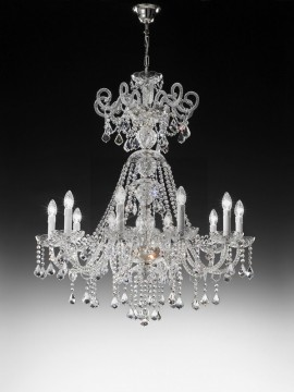 Chandelier in transparent crystal 10 lights nickel Voltolina Dream