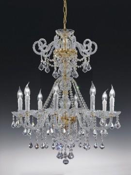 Lampadario in cristallo classico 8 luci oro con pendenti Voltolina Dream