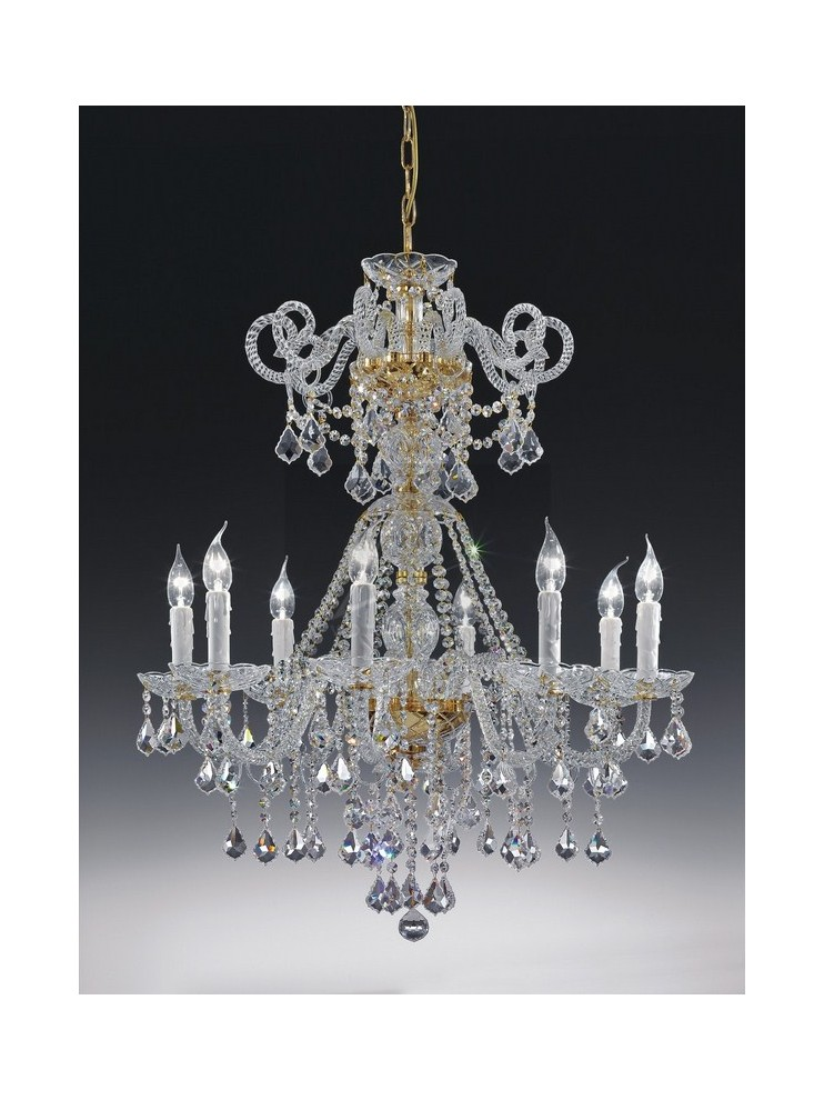Chandelier in 8 lights classic crystal with Voltolina Dream pendants