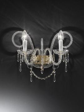 Applique in cristallo trasparente 2 luci oro Voltolina Erika