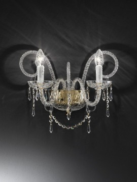 Wall lamp in transparent crystal 2 lights gold Voltolina Erika