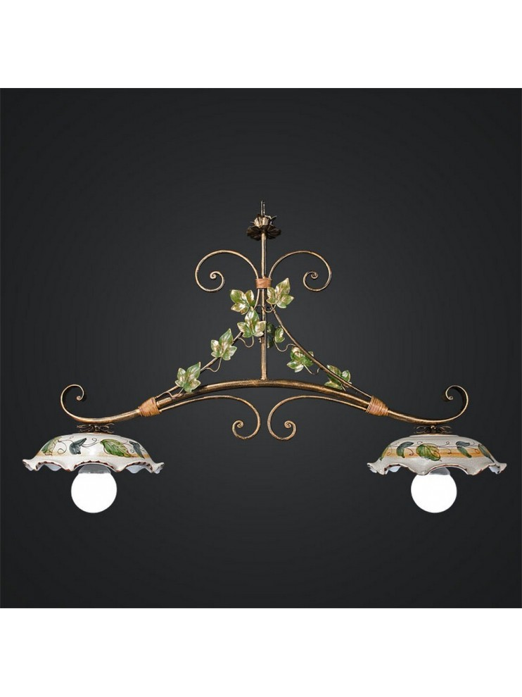 Barbell in ceramic and wrought iron 2 lights BGA 945