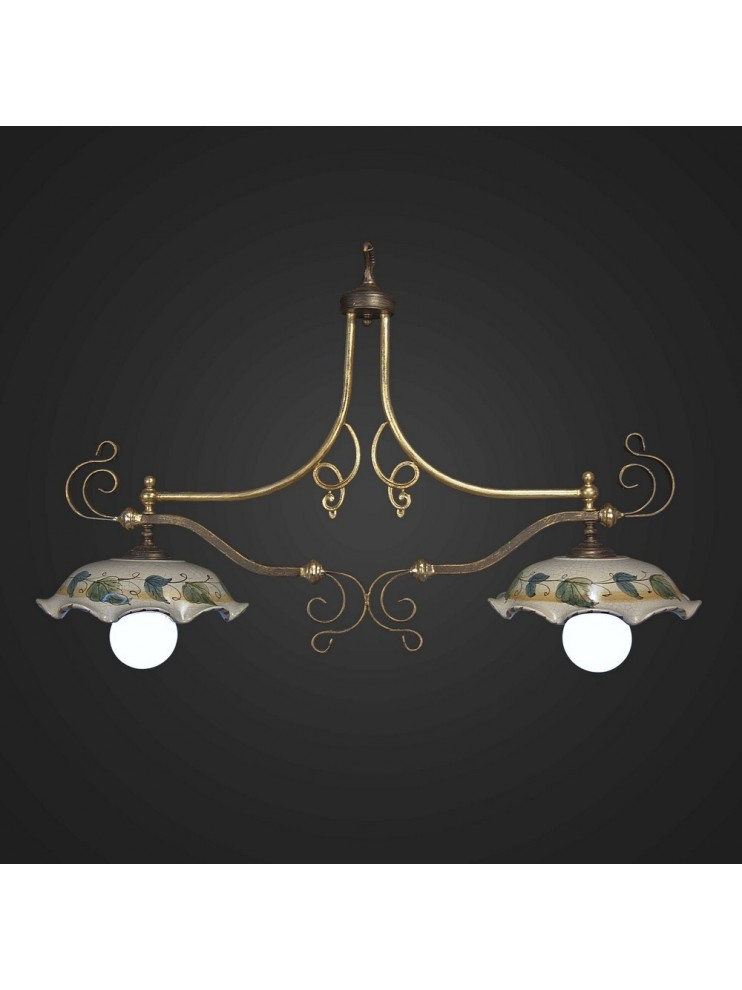 Classic barbell in wrought iron 2 lights BGA 461