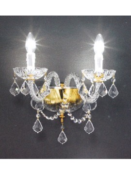 Wall lamp in transparent crystal with 2 lights Voltolina Serenade