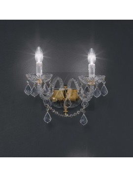 Classic 2 lights gold crystal wall lamp with Voltolina Toledo pendants