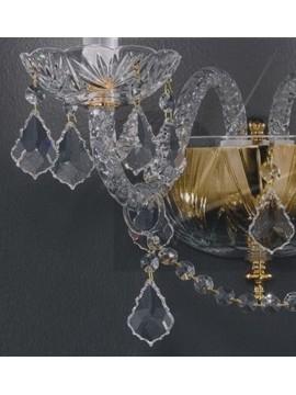 Applique in cristallo classico a 2 luci oro con pendenti Voltolina Toledo