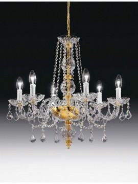 Lampadario in cristallo trasparente 6 luci oro Voltolina Toledo