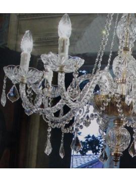 Lampadario in cristallo trasparente 8 luci oro Voltolina Toledo
