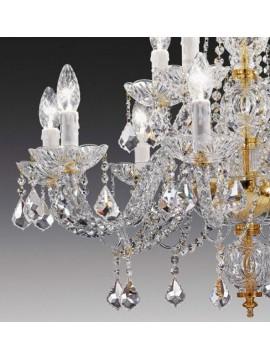 Lampadario in cristallo trasparente 8+4 luci oro Voltolina Toledo