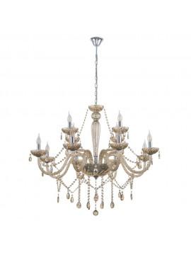 Amber crystal chandelier 12 lights GLO 39094 Basilano