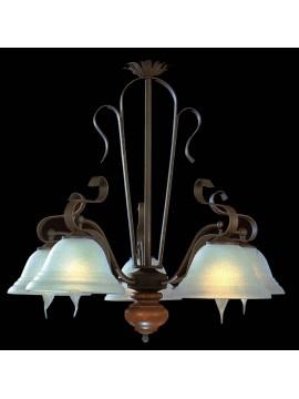 rustic chandelier in wrought iron 5 lights BGA 710