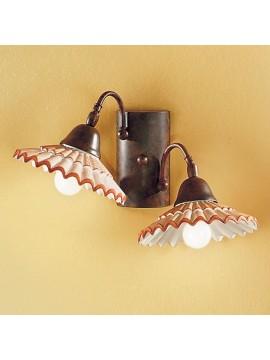 Applique rustico in ceramica bianco antico 2 luci Vania-ap2