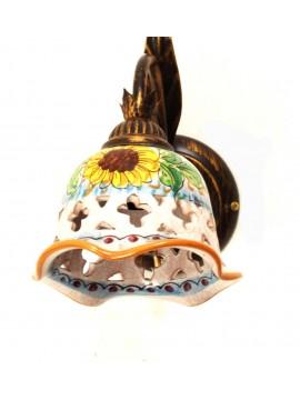 Applique rustico in ceramica siciliana girasole 1 luce Anita