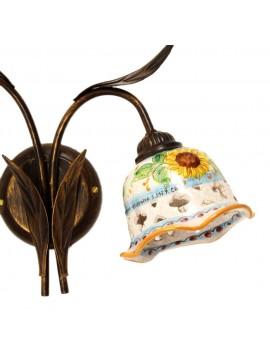 Applique rustico in ceramica siciliana girasole 2 luci Anita
