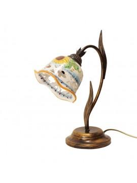 Lumetto rustico in ceramica siciliana girasole 1 luce Anita