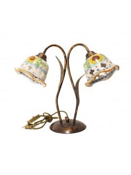 Lume grande rustico in ceramica siciliana girasole 2 luci Anita