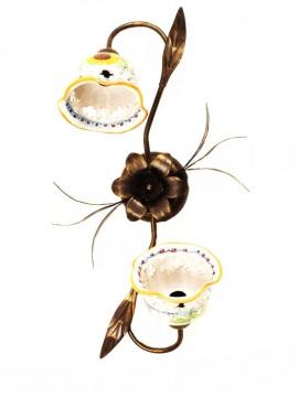 Plafoniera rustica in ceramica siciliana girasole 2 luci Anita