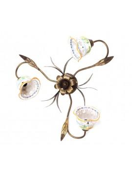 Plafoniera rustica in ceramica siciliana girasole 3 luci Anita
