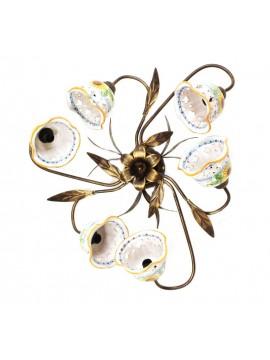 Plafoniera rustica in ceramica siciliana girasole 6 luci Anita