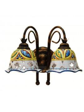 Sicilian ceramic rustic wall light 2 lights Stella