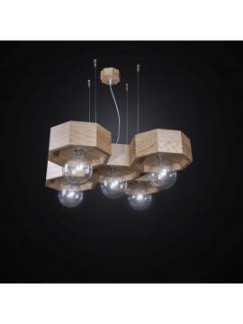 Contemporary wooden chandelier 5 lights BGA 2547/5