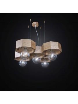 Lampadario contemporaneo in legno 5 luci BGA 2547/5