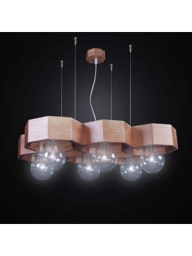 Contemporary wooden chandelier 6 lights BGA 2547/6