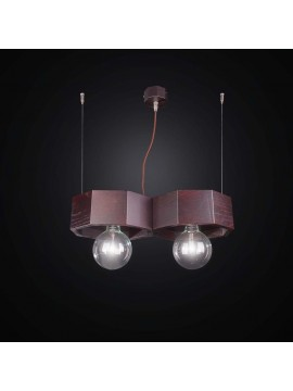 Contemporary dark wood chandelier 2 lights BGA 2547/2