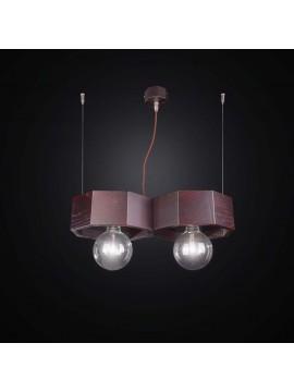Lampadario contemporaneo in legno scuro 2 luci BGA 2547/2