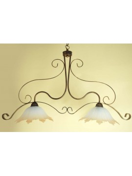 Classic glass barbell in wrought iron with 2 lights Stella Vetro