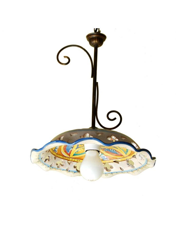Lampadari In Ceramica.Lampadario Rustico In Ceramica Siciliana 1 Luce Stella