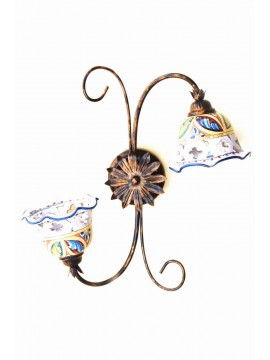 Sicilian ceramic rustic ceiling light 2 lights Stella