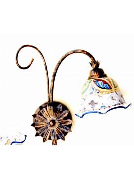 Plafoniera rustica in ceramica siciliana 2 luci Stella