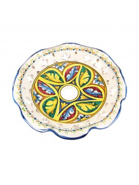 Plafoniera spot rustico in ceramica siciliana 1 luci Stella d.30