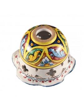Plafoniera spot rustico in ceramica siciliana 1 luci Stella d.15