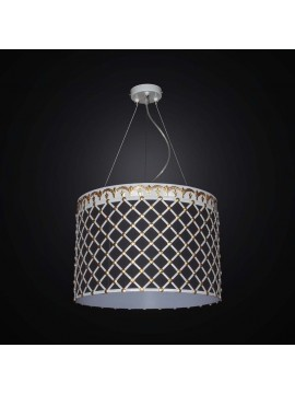 Contemporary chandelier in wrought iron and BGA 2541 / S43 fabric