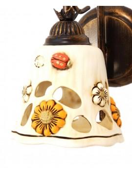 Applique rustico ferro battuto con ceramica 1 luce Sofia