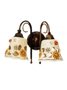 Rustic wrought iron wall light with ceramic 2 lights Sofia