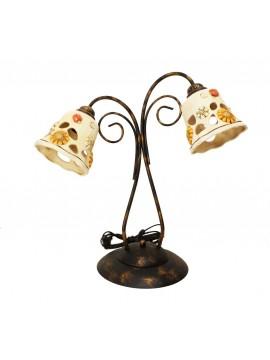 Lume grande rustico ferro battuto con ceramica 2 luci Sofia
