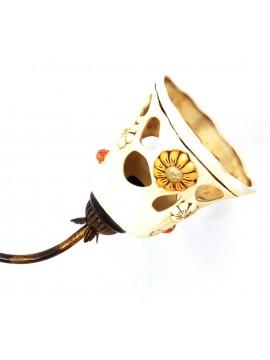 Plafoniera rustica ferro battuto con ceramica 2 luci Sofia