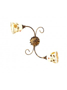 Rustic wrought iron ceiling light with ceramic 2 lights Sofia