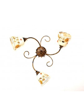 Rustic wrought iron ceiling light with ceramic 3 lights Sofia